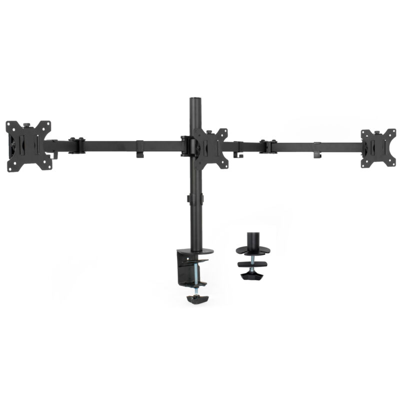 """Used VIVO Triple Monitor Adjustable Mount Articulating Stand 3 Screens up to 24"""""""