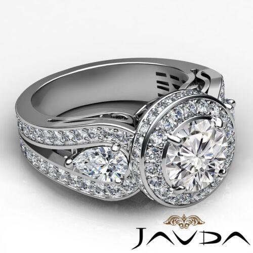 2.85ct Round Diamond 3 Stone Engagement Filigree Ring GIA F VVS2 14k White Gold 2