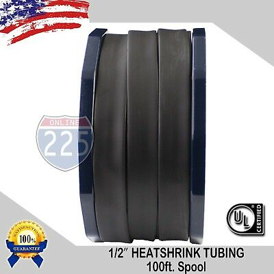 "1/2"" 100 FT. 100 Feet BLACK 13mm Polyolefin 2:1 Heat Shrink Tubing Tube Cable UL"