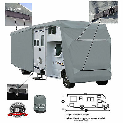 Deluxe 4-Layer Class C RV Motorhome Camper Cover Fits 24' 25' 26'L Zipper Access