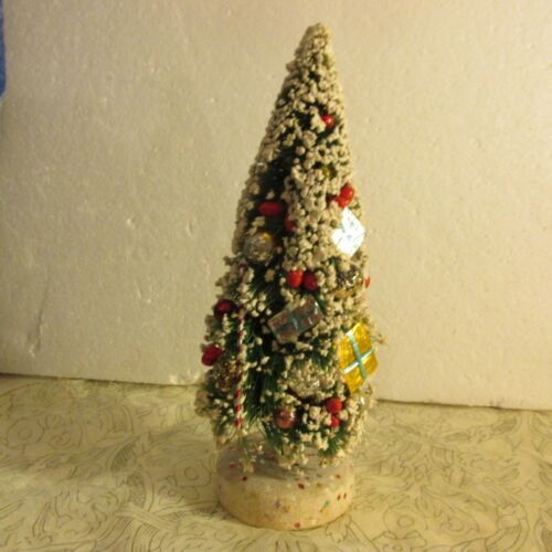 "Vtg Bottle Brush Christmas Tree Mica Tips Japan Ornament 10 1/2"" Packages Gifts"