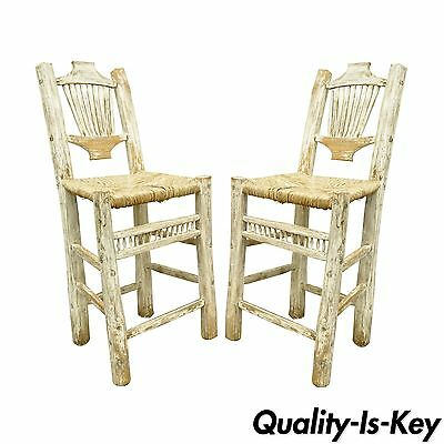2 Rustic Country Log Cabin Wood Branch Rush Seat Bar Stools Chair Hickory Style ()
