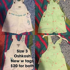 Size 3 Oshkosh short overalls. Both new w tags. $20 for both