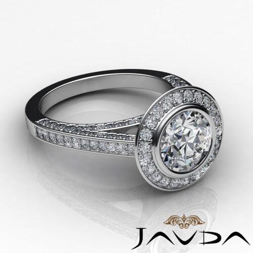 2.7ct Bezel Round Diamond Engagement Halo Pave Ring GIA F VS2 14k White Gold 2