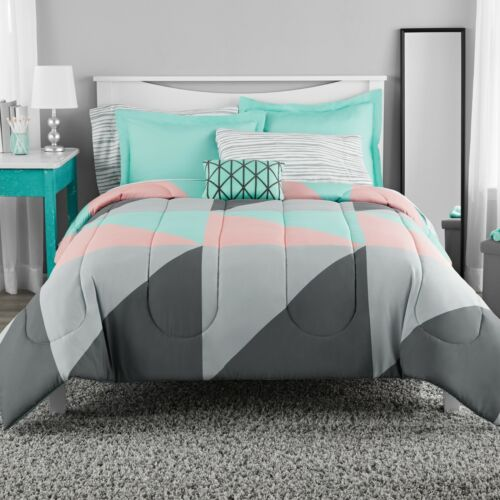Bed in Bag Bedding Set, Grey & Teal 8 pc with Sheet Set, Queen, King, Full, Twin