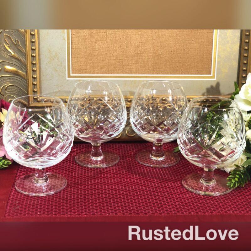 Vintage Brandy / Cognac Snifters Cut crystal Liquor Glasses Set of 4 Matching