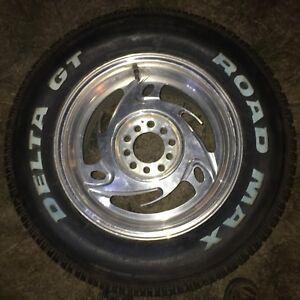 4 universal 5 bolt rims with 295 /50 r 16 delta road max tires