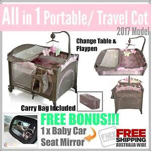 NEW Portable Baby Travel Cot PINK Bassinet Playpen Change Table Mount Kuring-gai Hornsby Area Preview
