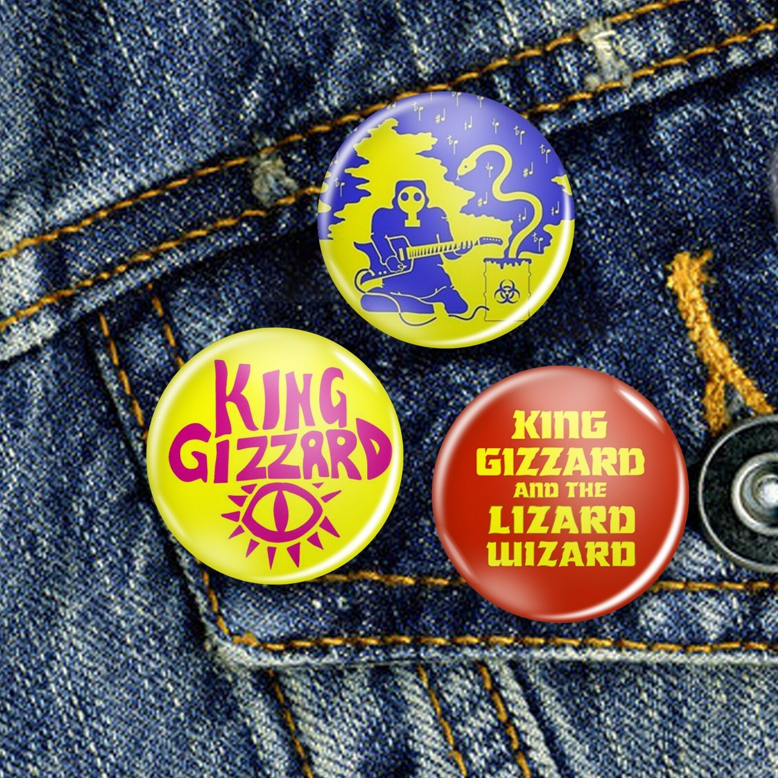 King Gizzard Psychedelic Acid Pin Button Badge Set 3 x 25mm Badges or Individual
