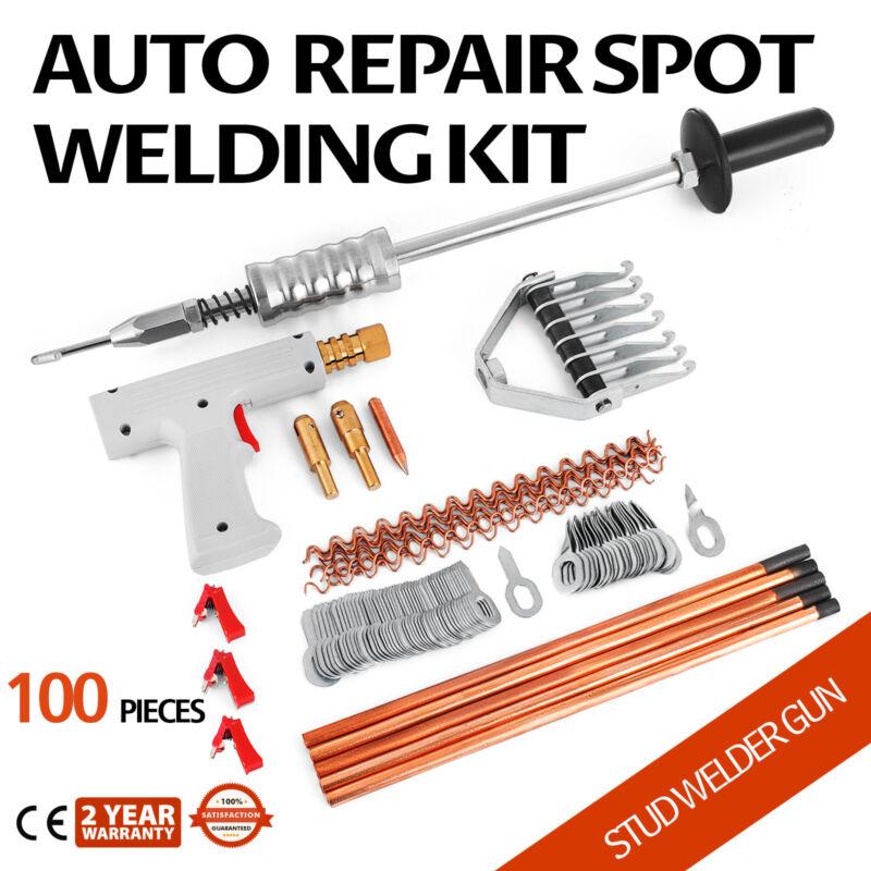 100Pcs Repair Panels Spot Welding Kit Stud Welder Gun Car Spotter Puller Dent