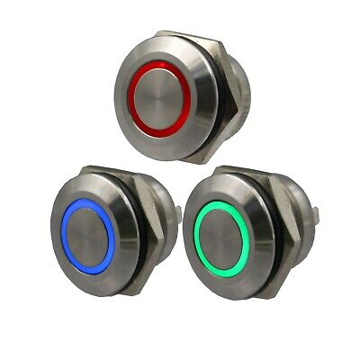 12mm Waterproof 4pin 1no Momentary Mini Push Button Switch With Ring Led Light