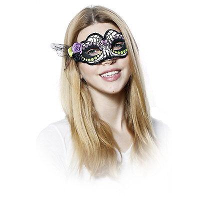 Adult Women's Day of the Dead Dia Muertos Sugar Skull Halloween Costume Mask