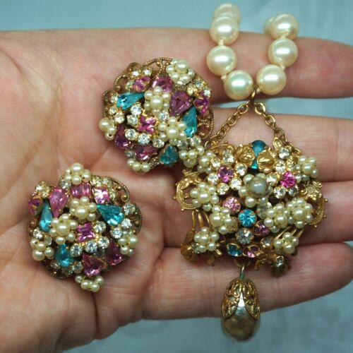 Vintage Haskell Original By Robert Pink Blue Rhinestone Pearl Necklace Earrings