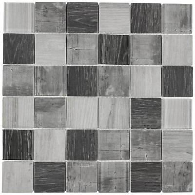 - Modern Uniform Squares Grey Glass Mosaic Tile Backsplash Kitchen Wall MTO0336
