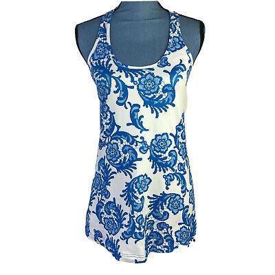 LuLuLemon Womans Size 10 Blue White Floral Athletic Tank Top Racerback