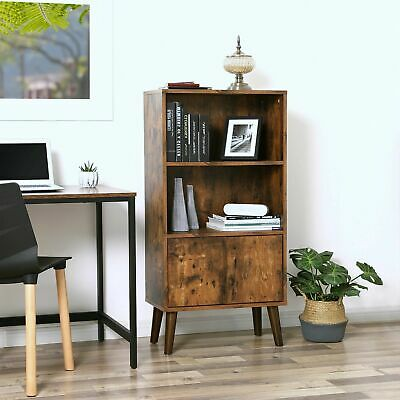 Vintage Retro Bookcase Rustic Display Cabinet Home Office Book Shelving Unit NEW