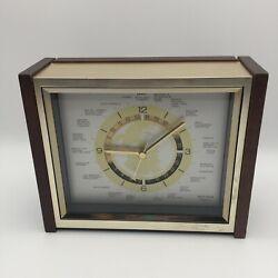 SEIKO Quartz GMT World Time Zone Desk Mantle Airplane Style Clock 7 H Sec Hand