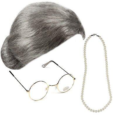 Oma Braten Perücke Gold Runde Brille Perlen Kostüm Alt Oma Sekretärin - Oma Kostüm Brille