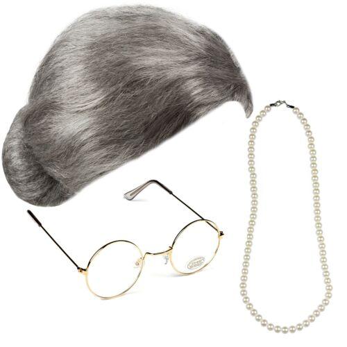 Oma Braten Perücke Gold Runde Brille Perlen Kostüm Alt Oma Sekretärin Satz