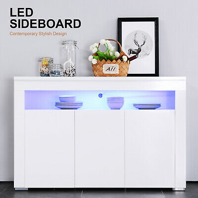 High Gloss White Sideboard Cabinet Cupboard Buffet Storage Unit with LED (Cupboard Sideboard)
