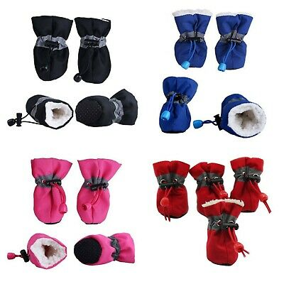 4PCs Best Pet Winter Warm Snow Shoes Anti-Skid Soft Fur Shoes For