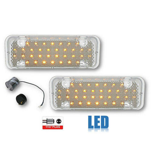 71 72 Chevy Pickup Truck Clear LED Park Light Lamp Lens PAIR & Flasher 1971 1972