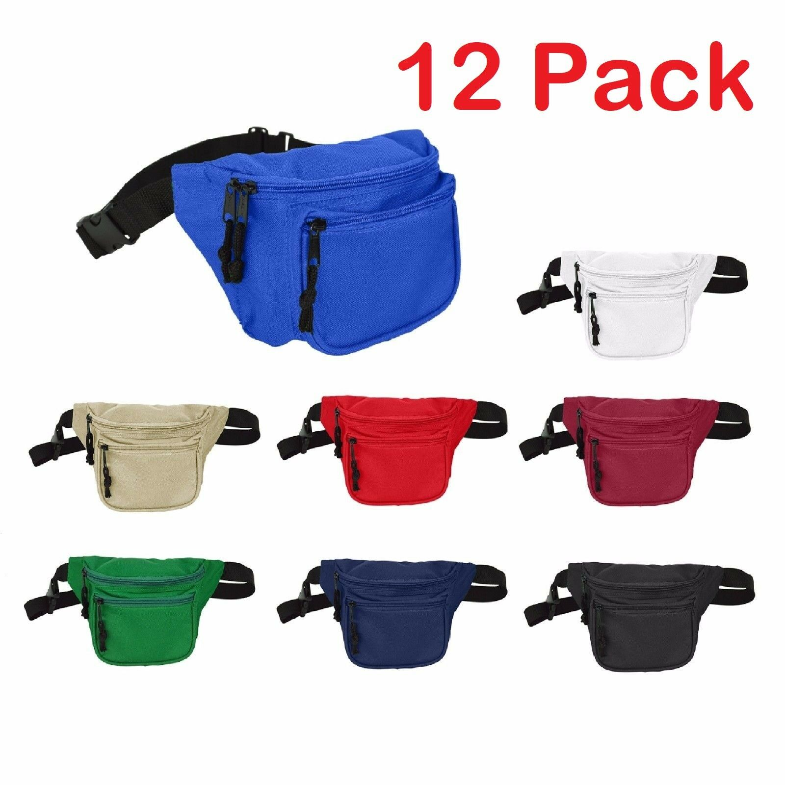 DALIX Waist Bag Fanny Pack with 3 Pockets Travel Waist Pouch Adjustable 12 PACK Camping & Hiking