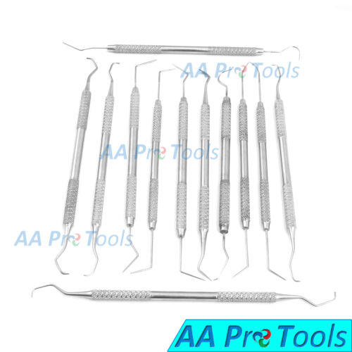 12 Piece Dental Probe Pick Tool Instrument Set Stainless Steel Scaler