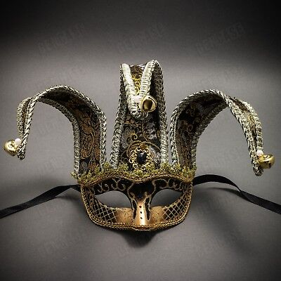 - Black Gold Venetian Jolly Jester Mardi Gras Mask Halloween Masquerade Costume