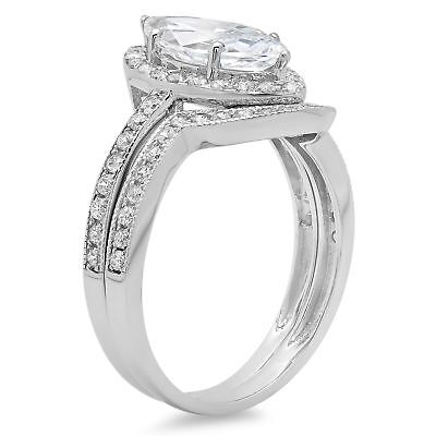 1.96ct Marquise Cut Halo Bridal Engagement Wedding Ring B...