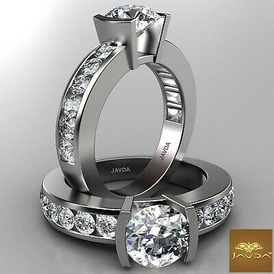 Bar Channel Set Round Diamond Engagement Ring GIA F SI1 14k White Gold 2.15ct