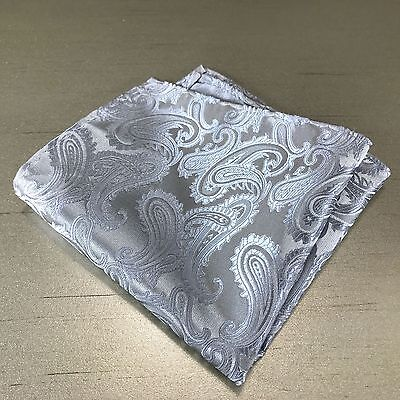 Silver Gray Paisley Design Hankie Hankerchief Pocket Square Hanky Wedding Grey