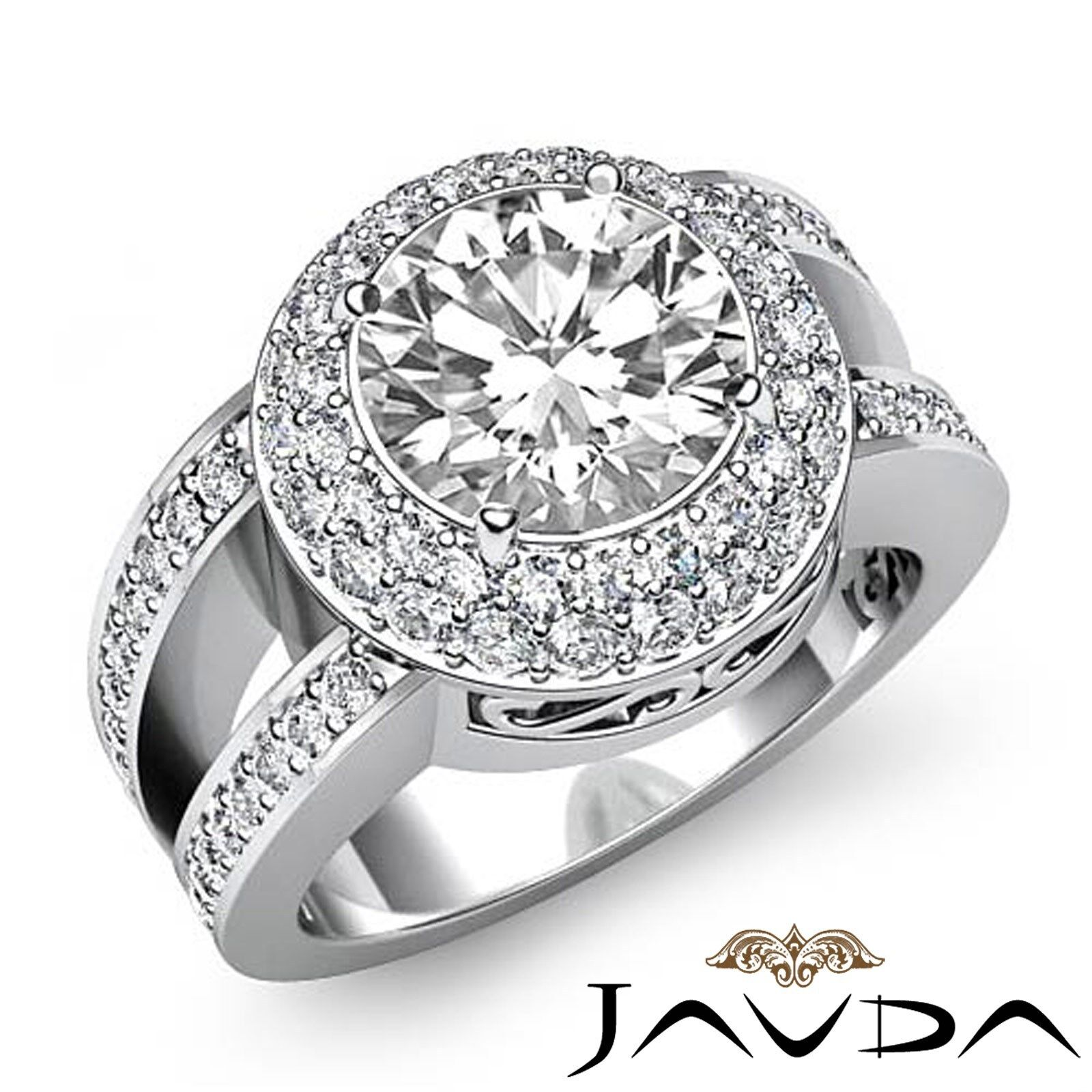 Double Halo Split Shank Round Diamond Engagement Pave Set Ring GIA H VS2 2.85Ct