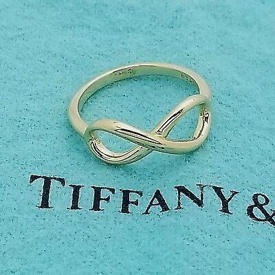 Tiffany & Co. Infinity Band 18k AU750 Yellow Gold Ring Size 5.5