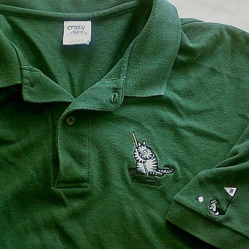 Vtg Crazy Shirts Hawaii - B Kliban Golfing Cat [& Mouse] Polo Shirt Green L