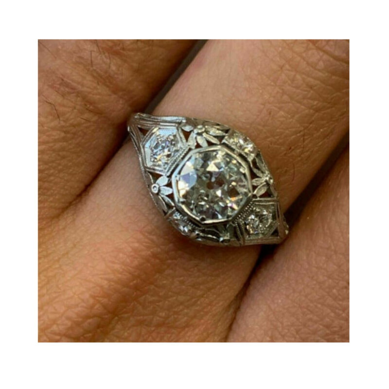 Antique Vintage 2.65Ct White Round Diamond Solid 14K White Gold Engagement Ring