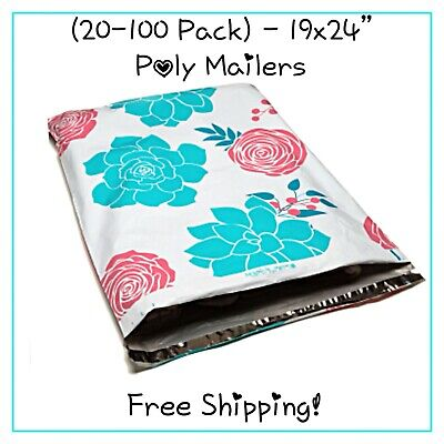 20-100 Pack - 19x24 Xxl Succulent Flowers Designer Poly Mailers Free Ship