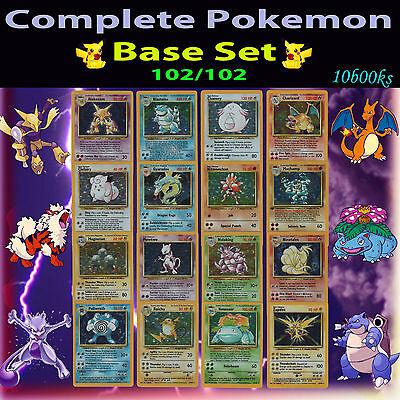 NM COMPLETE Pokemon BASE Entire Full Card Set/102 Holo Charizard Machamp 1st ed