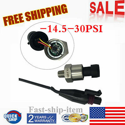 Vacuum Pressure Transducer Sender -14.5 To 30psi For Oil Fuel Gas Air Water Usa