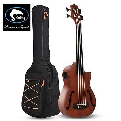 Bass Ukulele UBass Baritone 30 Inch Mahogany F-Holes Fretless with EQ Gig Bag