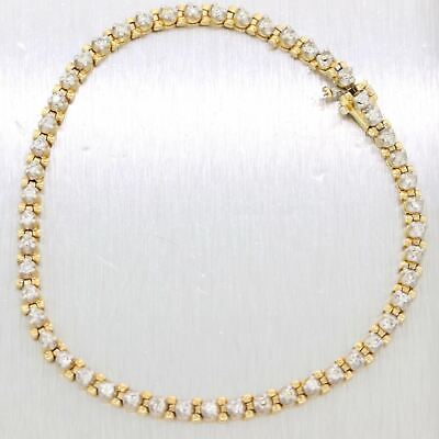 Vintage Estate Solid 14K Yellow Gold 1.00ctw Diamond 3mm Tennis Bracelet D8 for sale  Shipping to South Africa