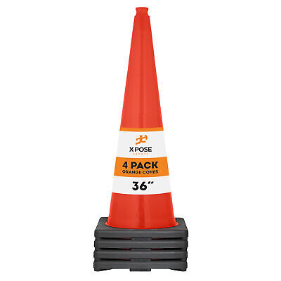 4 Of Orange Traffic Cones 36 Inch - Multipurpose Pvc Plastic Safety Cone