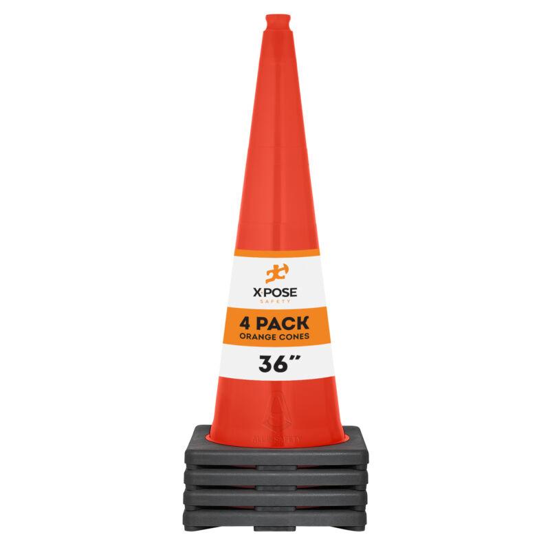 4 of Orange Traffic Cones 36 Inch - Multipurpose PVC Plastic Safety Cone