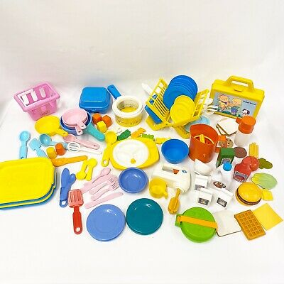 VTG 1987 Fisher Price Fun With Food Play Dishes 98 Pc Lot McDonald's Soup Mixer