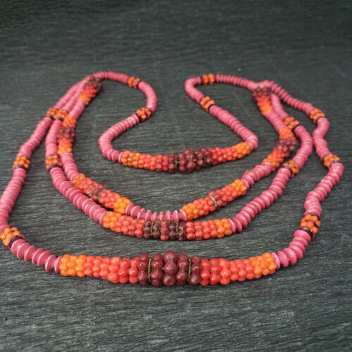 ATQ Machine Age Glass Early Plastic Bead Red Pink Orange Ombre Triple Necklace