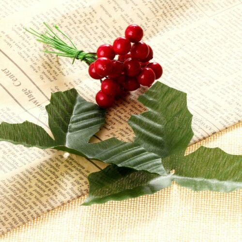 50 x Artifical Leaves Rose Flower Leaf Wedding Xmas Holly Wreaths Decor Crafts