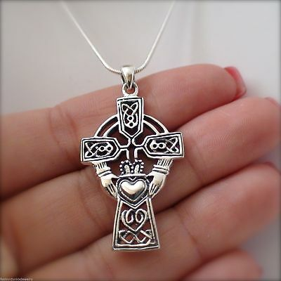 Large Celtic Claddagh Cross Necklace - 925 Sterling Silver - Claddagh Pendant (Claddagh Cross Necklace)