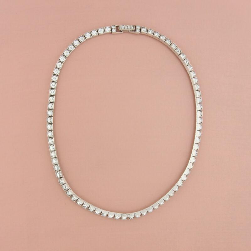 art deco sterling silver vintage rhinestone choker necklace size 14in