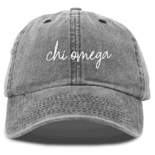 Chi Omega Cursive Sorority Hat Womens Embroidered Baseball Cap Washed Black