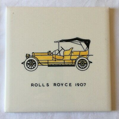 Vintage Wall Tile by Carter of Poole - Vintage Car Rolls Royce 1907